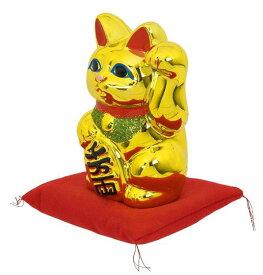 常滑焼 招き猫 梅月 黄金小判猫(左手)座ぶとん付 6号高さ:18cm<左手を上げる猫はお客を招く! 千客万来>