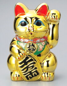 常滑焼 招き猫 梅月 黄金小判猫(左手)8号高さ:24cm<左手を上げる猫はお客を招く! 千客万来>