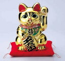 送料無料 常滑焼 招き猫 貯金箱黄金小判猫 左手(千万両) 8号 高さ25cm