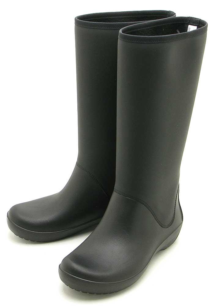 [クロックス]crocs RainFloe Tall Boot203416-001レインフロー トール ブーツ ウィメンBlack
