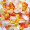 フラワーシャワー 造花 今ならフェザー入! ハニーオレンジ3色++天然の羽 約100枚 ウェディング 花びら 約1000枚 黄色…