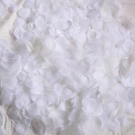 フラワーシャワー 造花 今ならフェザー入! ホワイト1色++天然の羽 約100枚 ウェディング 花びら 約1000枚 白 圧縮 結婚式 小物 飾り プレゼント ペーパーフラワー かざりつけ セット 誕生日 プロポーズ flower shower【メール便で送料無料】
