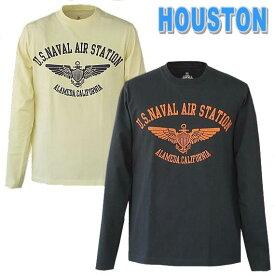 HOUSTON ヒューストン 長袖TEE SET-IN CREW MIRITARY L/S TEE  『U.S.Naval Air Station.』hst20703