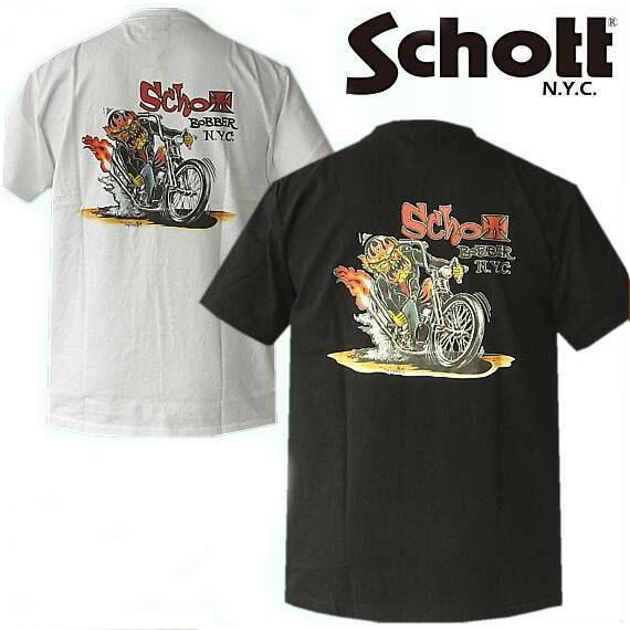 半袖Tシャツ  Schott (ショット) プリントTシャツ   VON FRANCO デザイン T-SHIRT 『Bobber NYC 』 3103033