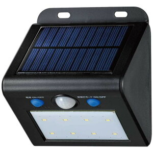 常夜灯モード 車 屋外 動き 太陽光 人感 明かり 人 防雨 電気 照明 ELPA(エルパ) 屋外用 LEDセンサーウォールライト ソーラー発電式 白色 ESL-K101SL(W)