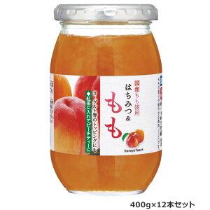 加藤美蜂園本舗 国産もも使用 はちみつ&もも 400g 12本セット ソース 日本産 ギフト ピーチ パン ピーチティー 果肉 紅茶 トッピング ヨーグルト