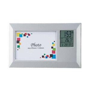 フォトフレームクロック ワイド 6130 6444-076 インテリア かわいい 飾り 置時計 ギフト ディスプレイ 温度計 カレンダー 写真立て おしゃれ プレゼント 時計 贈り物