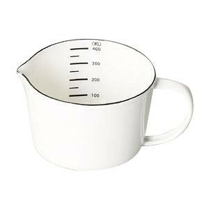 はかり 台所 クッキング 白 おしゃれ ホワイト 調理器具 料理 パール金属 ブランキッチン ホーローメジャーカップ400mL HB-4434