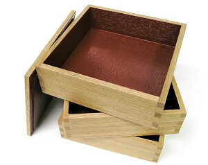 5寸白木三段重箱内朱
