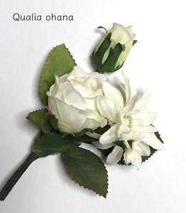 白バラのコサージュ 晴の日 フォーマル タウン アクセサリー お花飾り ブローチ 小さめ 装飾品 ブーケ 造花 ピン付 おしゃれ 白 グリーン ナチュラル エレガント センス インスタ映え 華やか