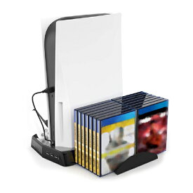 PS5 冷却ファン 充電スタンド ゲームディスク収納可能 クーリングファン 縦置きスタンド PS5 プレステ5 通常版 デジタルエディション コントローラー2台同時充電 充電表示ライト付き USBポート付き 滑り止めパッド 静音 デュアル冷却 散熱対策 ゲーム [あす楽][送料無料]