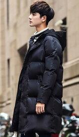 「送料無料]ダウン風ジャケット メンズ 中綿入り コート ロング アウター 秋冬 防寒 フード付き ジップアップ