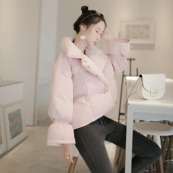 韓国の女性の半袖パンbf原宿の冬の学生の短いジャケットの女性のダウンジャケットの綿のコート