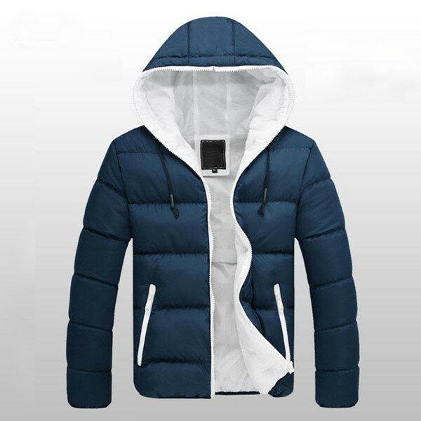 秋/冬の男の子は、暖かい綿の若者スリムダウンジャケットコートフード付き