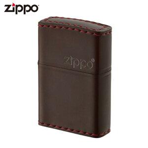 ZIPPO CC-5 ジッポー ジッポライター 革巻き ロゴ コードバン チョコ レザー ギフト プレゼント メンズ 喫煙具 タバコ 煙草 たばこ 父の日