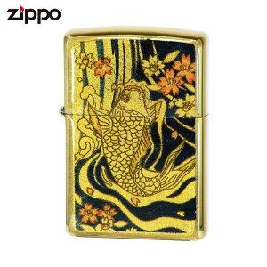 ZIPPO ジッポー ゴールド 金箔エポ 鯉 和柄 金箔 電鋳貼り ライター オイルライター ジッポ Zippo社 純正 オイルライター ギフト プレゼント