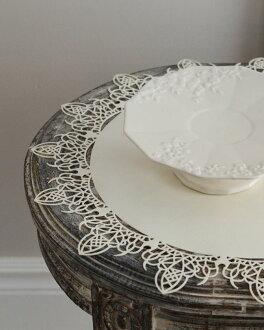 花邊 AMI 種族是餐墊 Mar L 尺寸 3 白色和黑色 2 件套