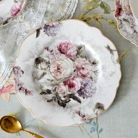 Rose Bouquet ローズブーケ ラウンドプレート 21cm HM1384【薔薇 フラワー 花柄 フレンチカントリー クラシック・アンティーク調】051