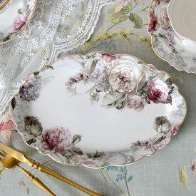 Rose Bouquet ローズブーケ オーバルプレート HM1385【薔薇 フラワー 花柄 フレンチカントリー クラシック・アンティーク調】002