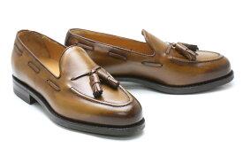 メンズ ローファー カジュアル ブラウン 革靴 本革 ビジネスシューズ クインクラシコ QueenClassico メンズ ドレスシューズ 紳士靴 8491lbr ライトブラウン タッセルローファーラバーソール クールビズ