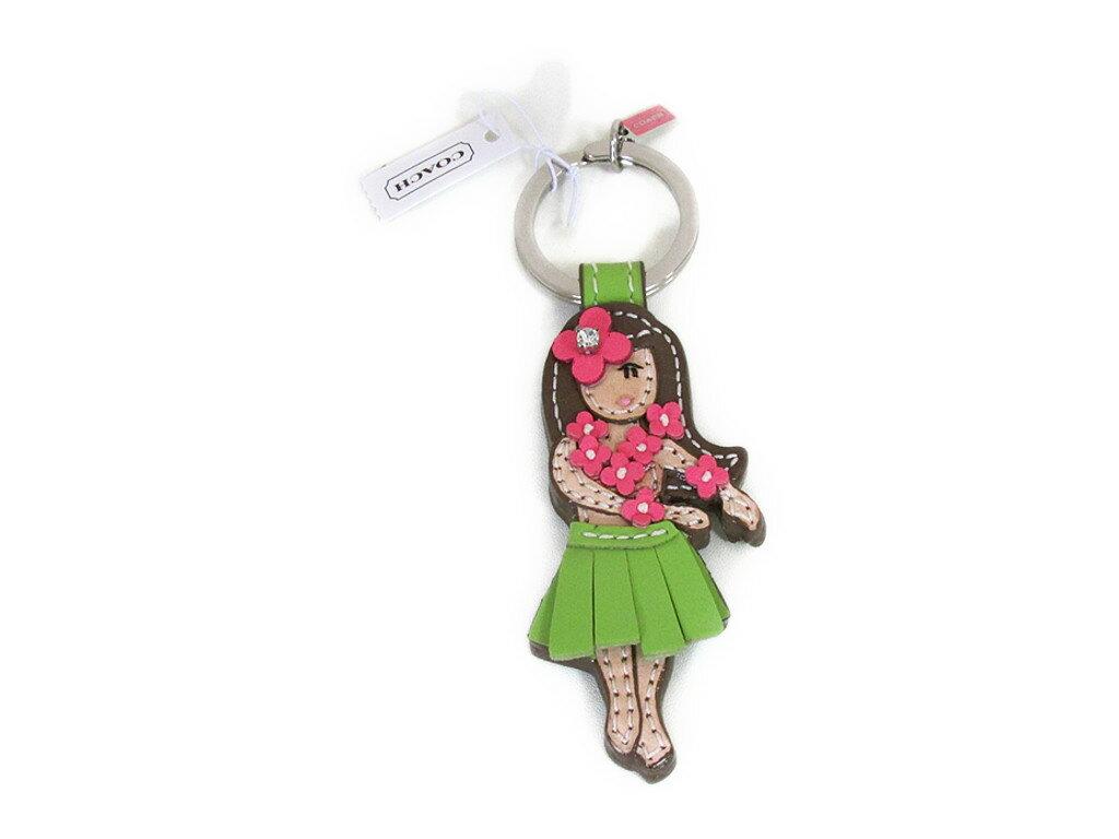 【スペシャル】Coach コーチ キーホルダー キーチェーン ハワイアン フラ フラワー ガール キーホブ 93159 ピンク グリーン【新品】COACH Hawaiian Hula Flower Girl Pink Green keyfob (Style F93159) SV/MC