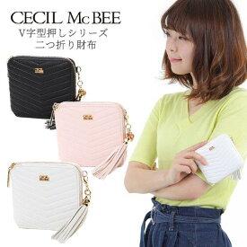 二つ折り財布 レディース ブランド CECIL McBEE セシルマクビー 小シボ合皮 V字型押し 二つ折りミニ財布 66000