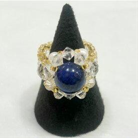ラピスラズリ 指輪 天然石 スワロフスキービーズ 女性