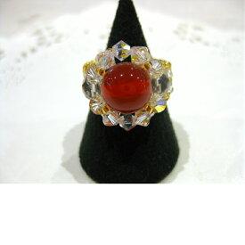 カーネリアン 指輪 天然石 スワロフスキービーズ 女性