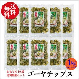 【送料無料】ゴーヤチップス100g×10袋セット【毎日の健康スナック】お得なまとめ買いセット 1キロ 送料無料 にがうり 野菜チップス わたがそのまま