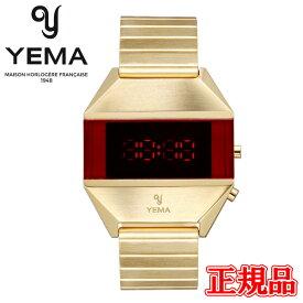 【豪華ノベルティ進呈】 正規品 YEMA イエマ LED GOLD ゴールド クォーツ メンズ腕時計 送料無料 YMHF1575-1AM ラッピング無料