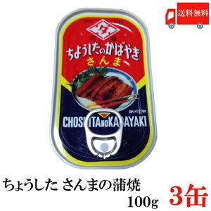送料無料 ちょうした さんま蒲焼 EO 100g×3缶 ポイント消化 缶詰 缶詰め かんづめ カンヅメ