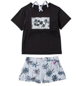 セール SALE ROXY ロキシー ラッシュTシャツ付き ビキニ セット (100-150cm) MINI PALM SHADOW ビキニ 水着 サーフィン 海水浴 夏 水泳 ビーチウェア【Kids】