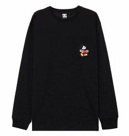 ディーシーシューズ DC SHOES  Tシャツ 長袖 クルーネック ディズニーミッキー19 MICKEY HAS BOARD POCKET LS T-shirts 【5425J935 BLK】