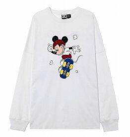 ディーシーシューズ DC SHOES  Tシャツ 長袖 クルーネック ディズニーミッキー19 MICKEY PRINT LS T-shirts 【5425J936 WHT2】