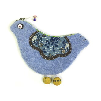 Happy Blue Bird Pouch