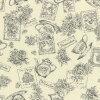 web1805-08, Black, 0.3m~   patchwork quilt, Yoko Saito, cotton print, flower, tea cup, black, ecru