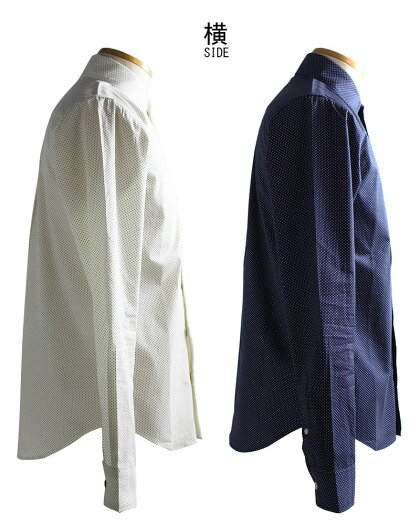 ZULU水玉柄長袖シャツドット柄ピンドットレギュラーメンズ日本製白ネイビー