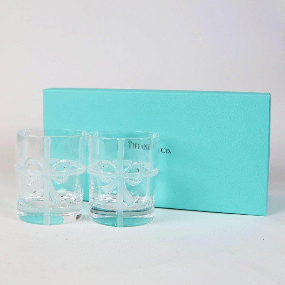 Tiffany ティファニー ギフトボックス入り ボウ グラス セット 母の日 バースデー プレゼント 祝い ギフト クリスマス メッセージカード付き TIFFANYのショッパー リボン付き