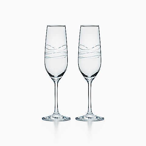 Tiffany ティファニー ギフトボックス入り  シャンパン グラス セット 母の日 バースデー プレゼント 祝い ギフト クリスマス TIFFANYのショッパー リボン付き