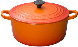 新品 ル・クルーゼ Le Creuset 鋳物 ホーロー 鍋 ココット・ロンド 22 cm オレンジ ガス IH オーブン 対応 あす楽