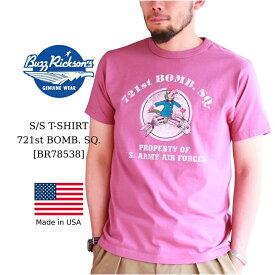 Buzz Rickson's バズリクソンズ S/S T-SHIRT 721st BOMB. SQ. プリントTシャツ ワイン メンズ アメカジ 日本製 Tシャツ