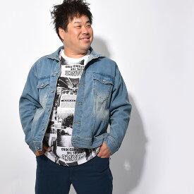 デニムジャケット 大きいサイズ メンズ Gジャン ジージャン アウター ストレッチ 大きめ オーバーサイズ ゆったり ブルー ブラック ブラック ネイビー カジュアル 黒 春 服 3l 4l 5l ビックサイズ キングサイズ 大きいサイズ イワショー