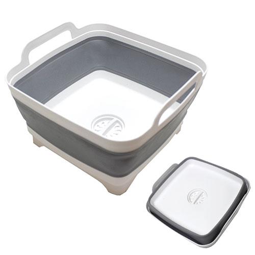 送料無料 洗い桶 折りたたみバケツ グレー つけ置き洗い 排水口付き 靴洗い スクエア
