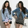 """Party dress S - XL size """"queen G Jean"""" [denim big size lady's soft-headed kersey Jean 2WAY denim jacket Lady's JK short length short long sleeves autumn clothing autumn clothing fall and winter thing L 11 LL size LL 13 X"""