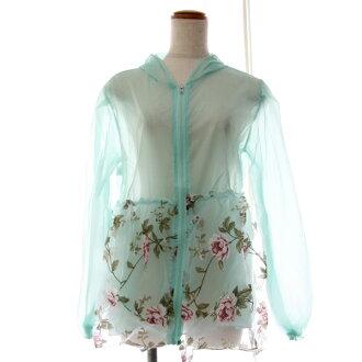 Party dress (NEW) 4 color floral design UV cut parka ultraviolet rays UV sunburn measures sea pool floral design parka food rose pattern nylon
