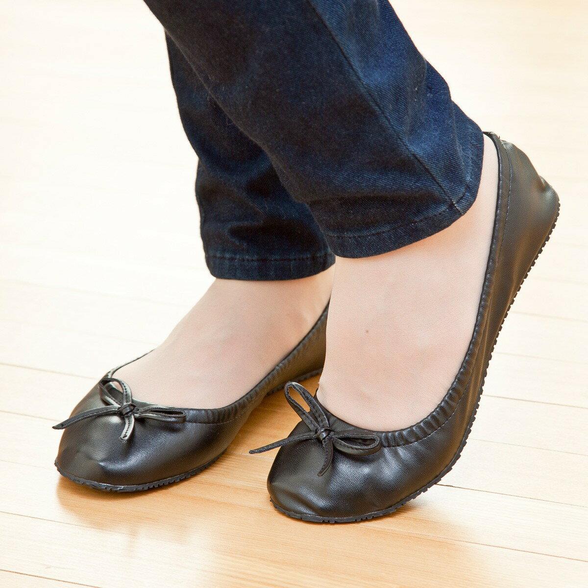 携帯用 シューズ 靴 旅行 外出先 飛行機 携帯リボン付バレーシューズ ブラック