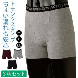 失禁パンツ 男性用 トランクス 軽失禁 日本製 バレない 尿漏れパンツ 尿モレパンツ 軽失禁パンツ さわやかガード トランクス ショート 4色組 返品不可