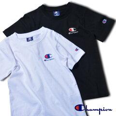 2枚セットチャンピオンキッズ袖ワンポイント半袖Tシャツ無地男の子ブラックホワイトChampionスポーツ