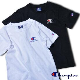 2枚セット チャンピオン キッズ 袖ワンポイント 半袖Tシャツ 無地 男の子 ブラック ホワイト 黒 白 Champion スポーツ