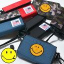 【再入荷】キッズ マジックテープ財布 ニコちゃんワッペン付き スマイル スマイリーフェイス 迷彩 カモフラ 切替え 無…